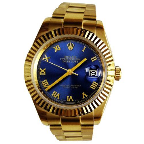 ساعت مچی Rolex بند طلایی صفحه آبی